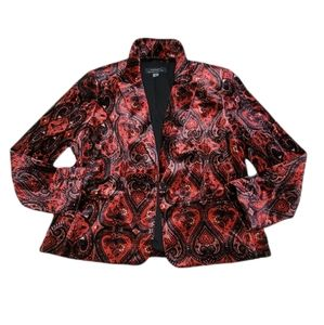 Tahari Arthur S. Levine Velour One Button Paisley Print Velvet Blazer Size 14